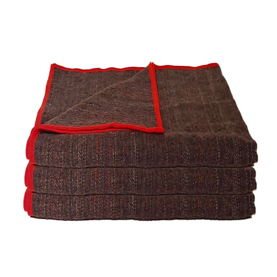 Zestaw trzech koców do jogi z czerwoną lamówką